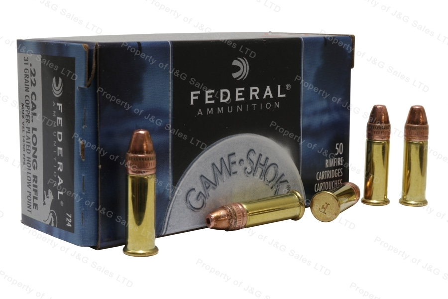 22LR Federal 31gr Copper Plated HP Hyper Velocity Ammo, 50rd Box. 724