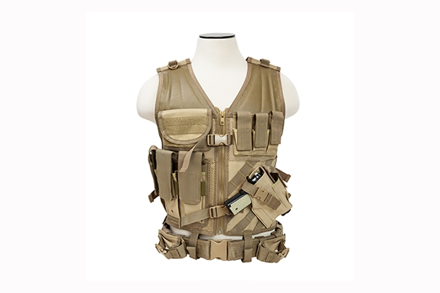 Tactical Vest 2XL With Holster, Mag Pouches & Accessory Pouches, by VISM. Tan. New.