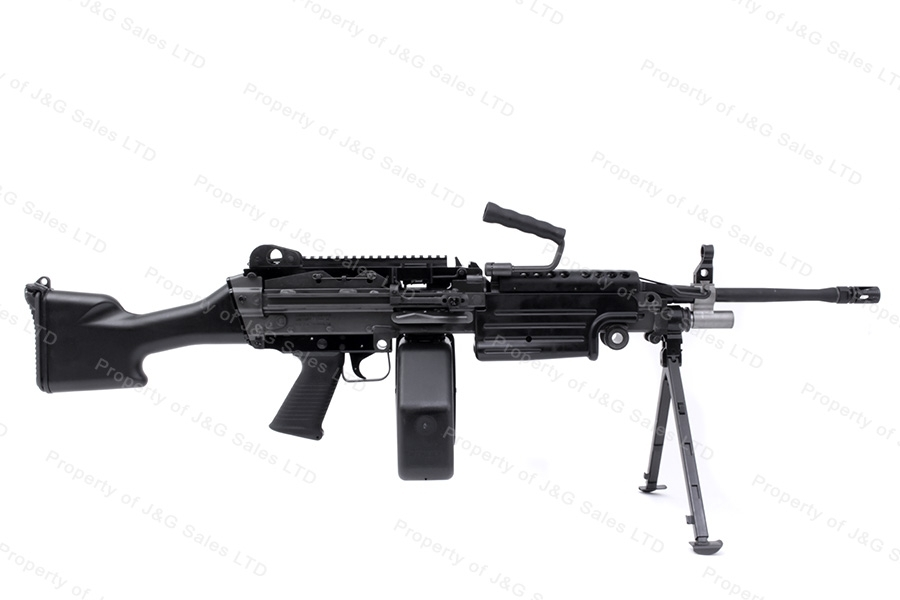 FNH M249s Semi Auto Belt Fed Rifle, 556mm, SAW With Bipod and Ammo Box, New.