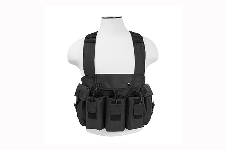 Chest Rig for AK-47 mags, with criss-cross style shoulder straps, by VISM. Black. New.
