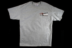 J&G Sales T-Shirt 16, Light Gray Short Sleeve with Logo & the 2A, Size Large.