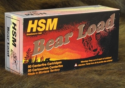 45 LONG COLT HSM BEAR AMMO 325GR, WIDE FLAT NOSE, 50RD BOX.