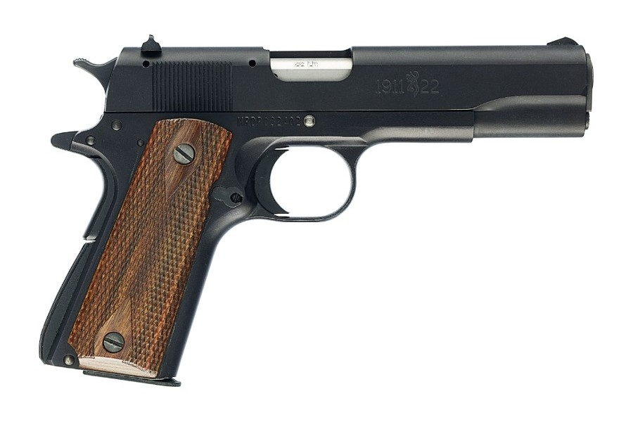 "BROWNING 1911-22 SEMI-AUTO PISTOL, 22LR, 4.25"" BBL, 10RD MAG, BROWN GRIPS, BLACK, NEW"