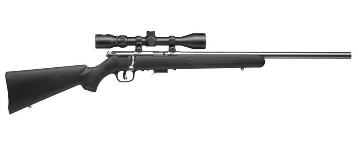 "SAVAGE 93 FVSS XP BOLT ACTION RIFLE W/4X30MM SCOPE, .22WMR (.22 MAG), 21"" HVY TGT BBL, 5RD MAG, STAINLESS, NEW"