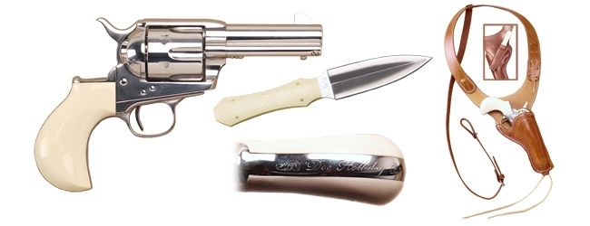 "CIMARRON DOC HOLLIDAY COMBO, .45LC, 3.5"" BBL, BIRDSHEAD GRIPS, NICKEL, NEW"