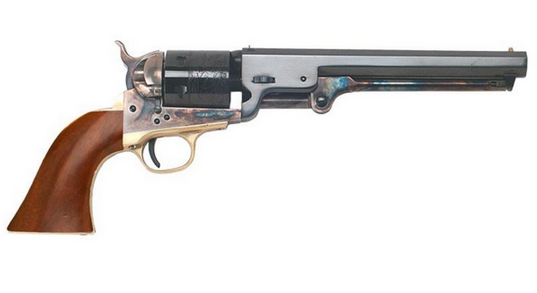 "CIMARRON ""MAN W/NO NAME"" CONVERSION REVOLVER, .38SPL, 7.5"" BBL, WALNUT GRIP, CASE COLORED/BLUED, NEW"