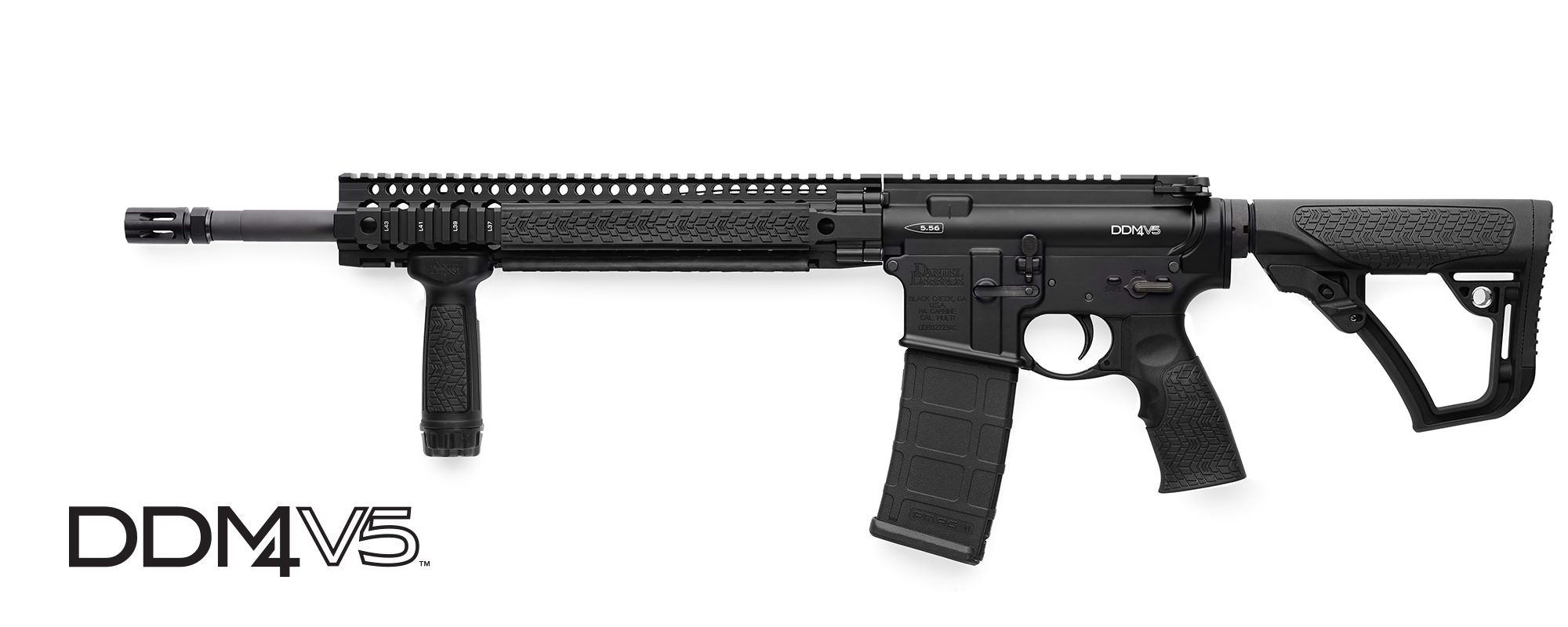 "DANIEL DEFENSE M4 V5 SEMI-AUTO CARBINE, 223 (5.56MM NATO), 16"" BBL, VERT GRIP, BLACK, NEW"