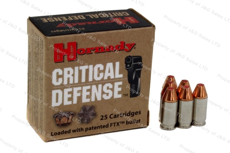 380ACP Hornady Critical Defense JHP Ammo, 90gr, Nickel Case, 25rd Box.