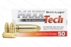 9mm Maxxtech 115gr FMJ Ammo, Brass Case, 250rds.