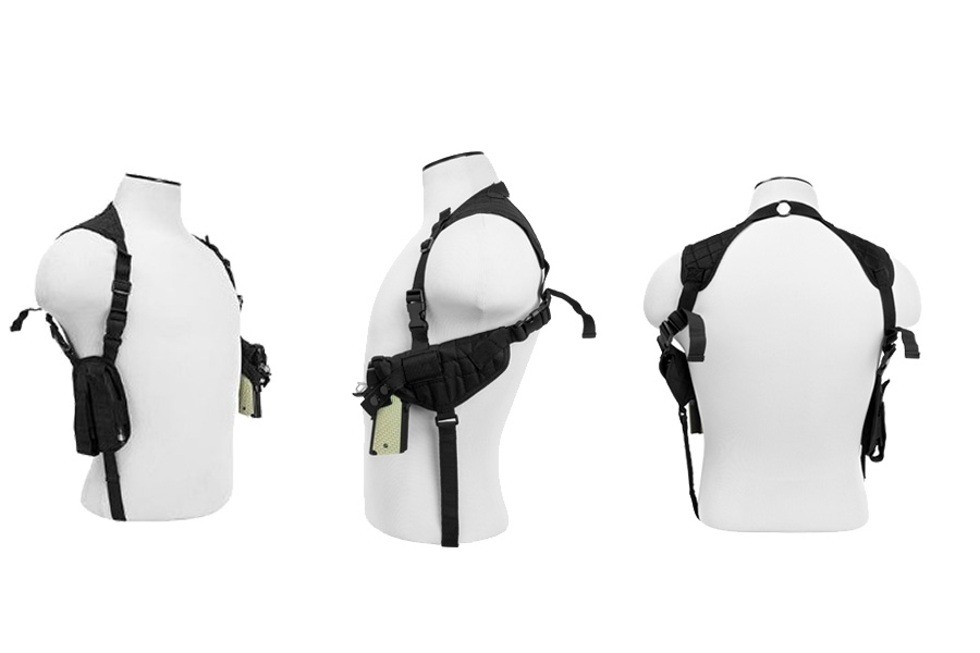 VISM Shoulder Holster with Double Mag Pouch, Ambidextrous, Fits Most Pistols.