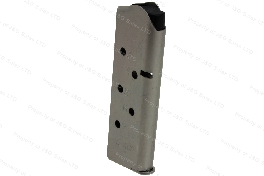 ASC 1911 45ACP 7rd Magazine, Officers Model Size, Stainless, New.