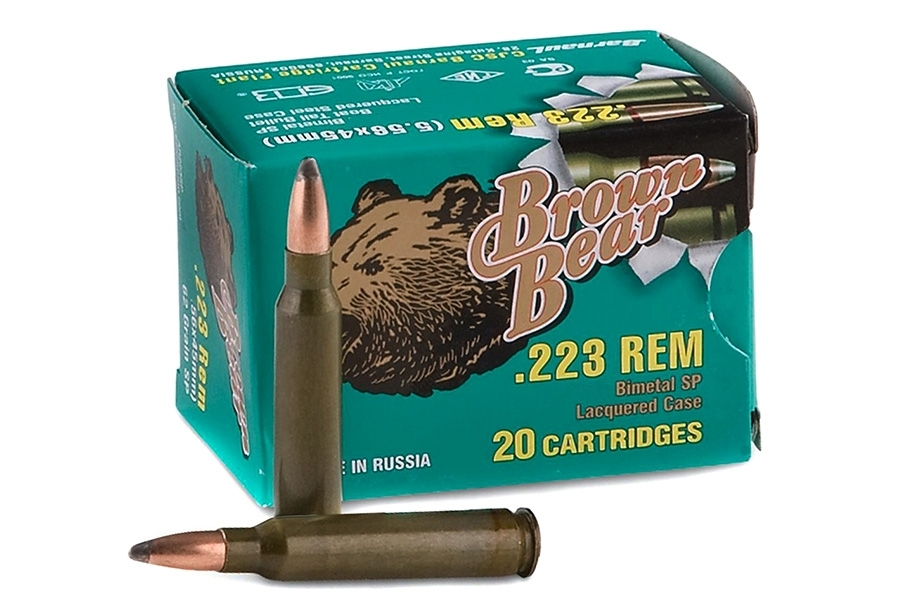 223 Brown Bear 55gr SP Ammo, 20rd box.