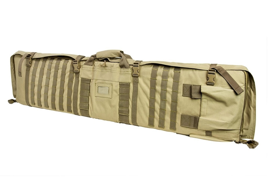 Shooting Mat and Rifle Case Combo, Tactical Rifle Case Unfolds Into Shooting Mat, By VISM, Tan.