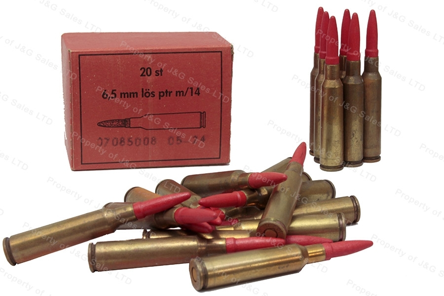 6.5x55 Swedish M14 Blank, Wooden Projectile, 20rd Box.
