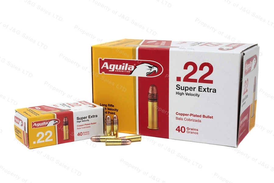 22LR Aguila 40gr Super Extra Copper Plated High Velocity Ammo, 500rd Brick.