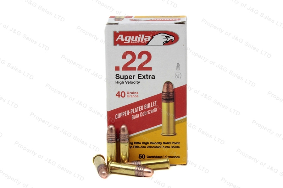 22LR Aguila 40gr Super Extra Copper Plated High Velocity Ammo, 50rd Box.