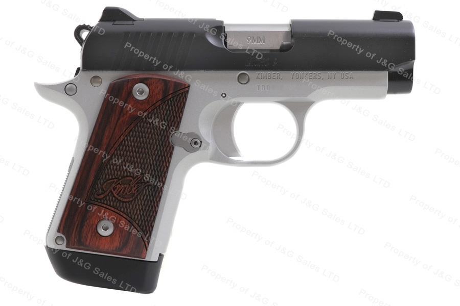 Kimber Micro 9 Semi Auto Pistol, 9mm, Two-Tone, Rosewood Grips, New.