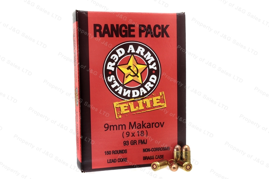 9x18 Makarov Red Army ELITE 93gr FMJ Ammo, 900rd Case, Brass Case, Polish mfg.