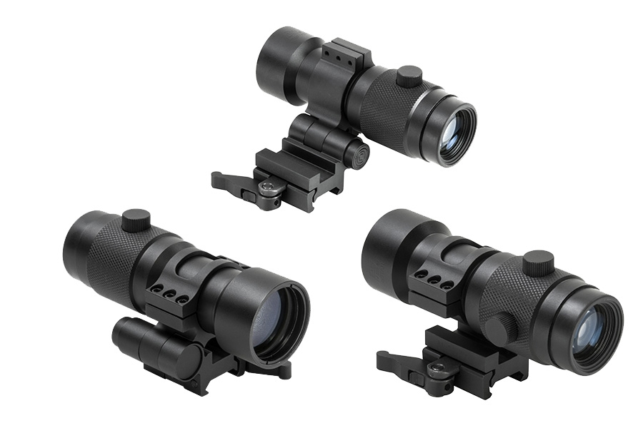 NcStar 3x Magnifier for Dot sights, Side Flip Integral Mount for Picatinny Rail. New.