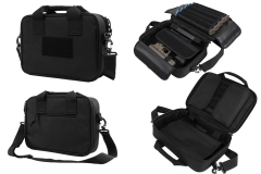VISM Double Pistol Case Rangebag, Black Nylon, Padded With Mag Pouches.