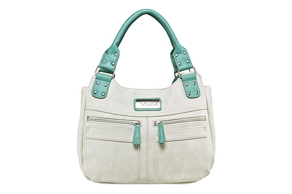 VISM Concealed Carry Purse BWC002, Hobo Bag, White with Seafoam.