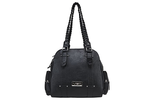 VISM Concealed Carry Purse BWB001, Braided Shoulder Bag, Black.
