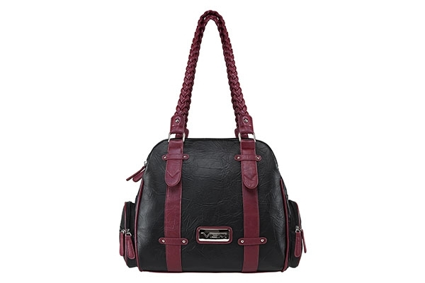 VISM Concealed Carry Purse BWB002, Braided Shoulder Bag, Black with Burgundy.