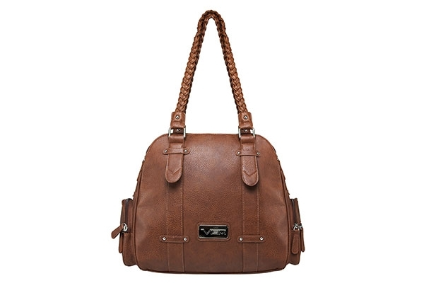 VISM Concealed Carry Purse BWB003, Braided Shoulder Bag, Brown.