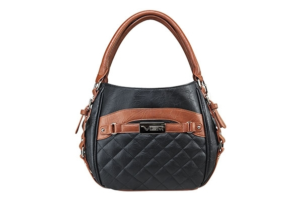VISM Concealed Carry Purse BWD002, Quilted Hobo Bag, Black with Brown.