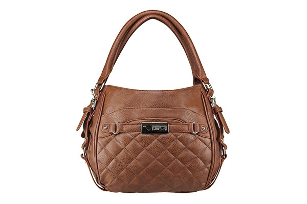 VISM Concealed Carry Purse BWD003, Quilted Hobo Bag, Brown.
