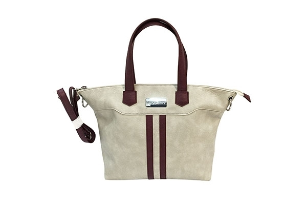VISM Concealed Carry Purse BWE003, Satchel Bag, White with Burgundy.