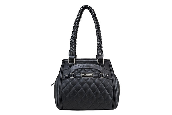 VISM Concealed Carry Purse BWF001, Braided Quilted Bag, Black.