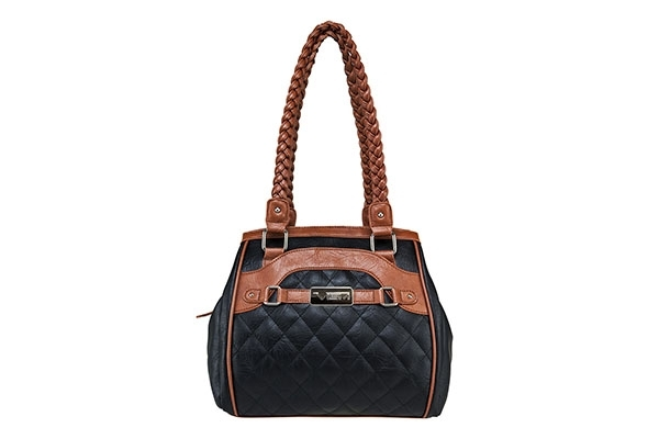 VISM Concealed Carry Purse BWF002, Braided Quilted Bag, Black with Brown.