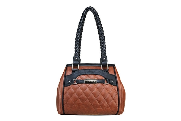 VISM Concealed Carry Purse BWF003, Braided Quilted Bag, Brown with Black.