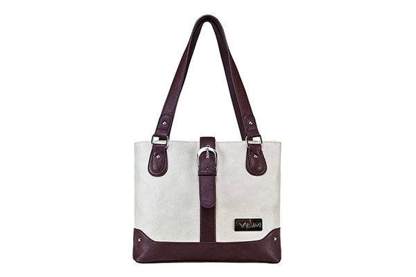 VISM Concealed Carry Purse BWG002, Shoulder Bag, White with Burgundy.