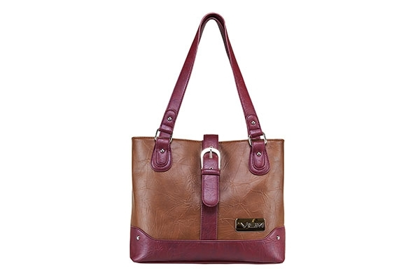 VISM Concealed Carry Purse BWG003, Shoulder Bag, Brown with Burgundy.