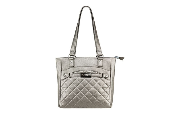 VISM Concealed Carry Purse BWH002, Quilted Tote Bag, Gray.