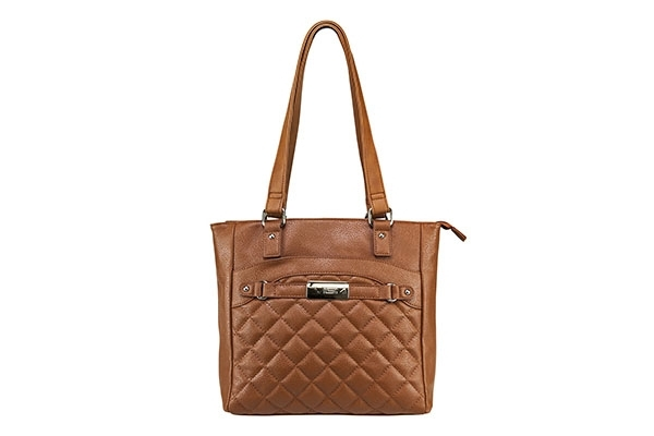 VISM Concealed Carry Purse BWH003, Quilted Tote Bag, Brown.