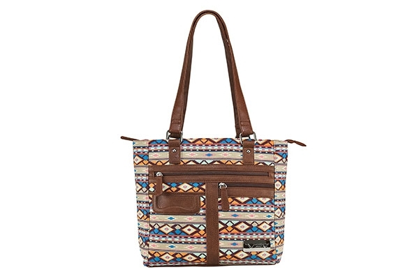 VISM Concealed Carry Purse BWJ002, Printed Tote Bag, Brown Diamond Pattern.