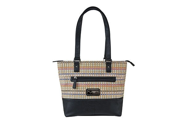 VISM Concealed Carry Purse BWK001, Woven Tote Bag, Black Weave Pattern.