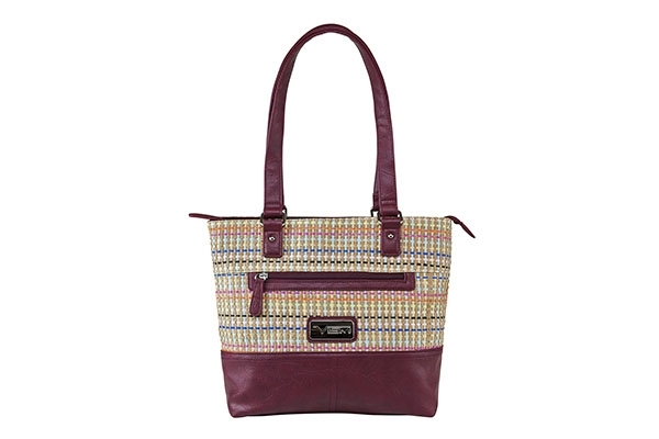 VISM Concealed Carry Purse BWK002, Woven Tote Bag, Burgundy Weave Pattern.