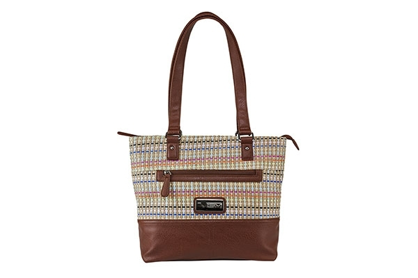 VISM Concealed Carry Purse BWK003, Woven Tote Bag, Brown Weave Pattern.