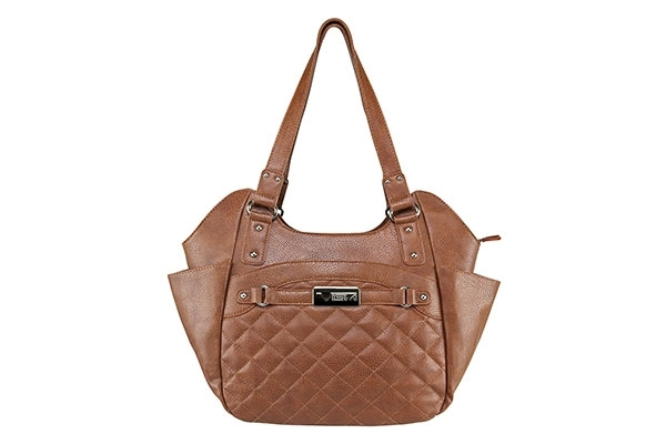 VISM Concealed Carry Purse BWL002, Large Quilted Hobo Bag, Brown.
