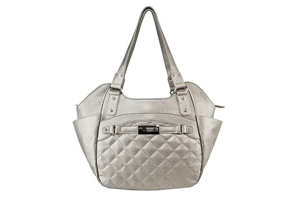 VISM Concealed Carry Purse BWL003, Large Quilted Hobo Bag, Silver.