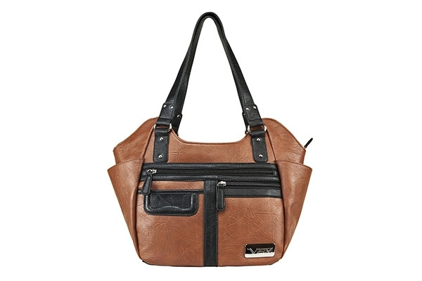 VISM Concealed Carry Purse BWM003, Large Hobo Bag, Brown with Black.