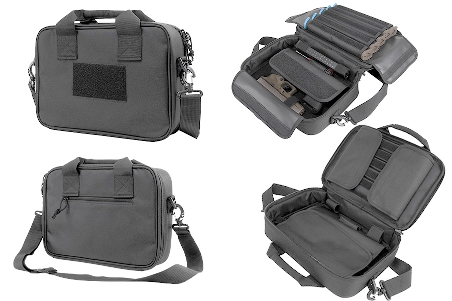 VISM Double Pistol Case Rangebag, Urban Gray Nylon, Padded With Mag Pouches.