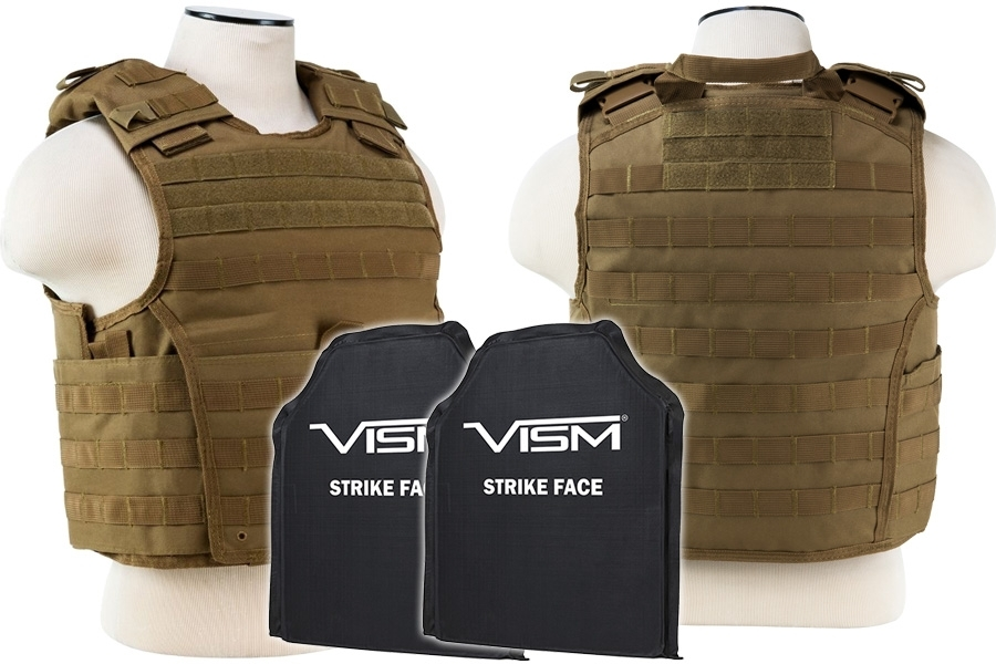 Plate Carrier Vest with Two Soft Ballistic Panels, Level IIIA, 2963 Expert Series by VISM, Tan.