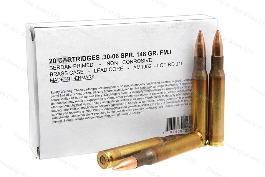30-06 Danish Surplus 148gr FMJ Ammo, 1960's AMA Mfg, 100rds.