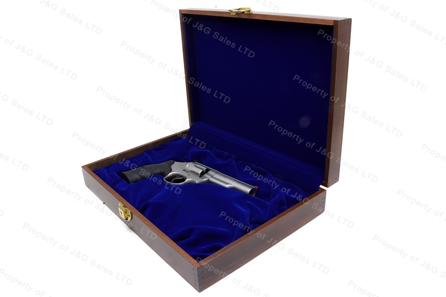 Dark Wood Revolver Display Case with Cloth Liner, Locking, New.