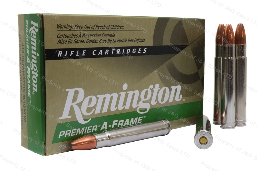 416 Rem Mag Remington Premier, 400gr Swift A-Frame PSP Ammo, 20rd Box, New.